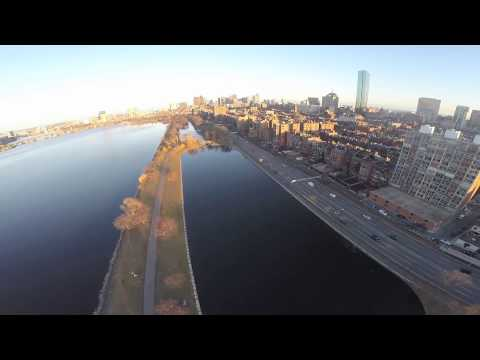 flying over Boston and Cambridge