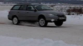 Доскользились по снегу на Аутбеке. Subaru Legacy Outback drift in snow