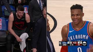 Russell Westbrook Trucks Jusuf Nurkic After Getting Tripped At Moda Center