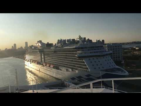 Horn battle between Carnival Sunshine and Regal Princess leaving Boston - The Love Boat
