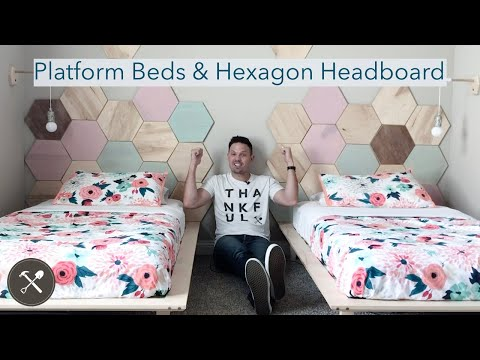 Building Twin Platform Beds & Hexagon Tile Headboards