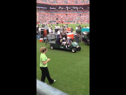 Revis gets carted off field