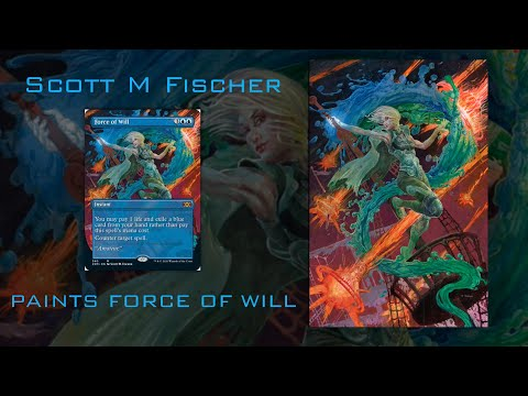 Scott M Fischer: MTG Force Of Will Process Painting
