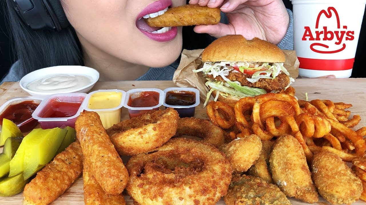 Asmr Arbys Crispy Chicken Sandwich Onion Rings Jalapeno Poppers Mozzarella Sticks Asmr Phan