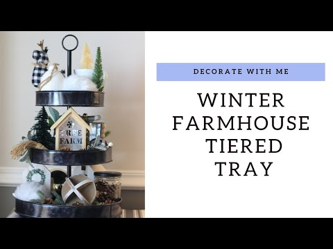 WINTER FARMHOUSE TIERED TRAY   THE DIY MOMMY'S 2019 CHRISTMAS DIY AND DECOR CHALLENGE