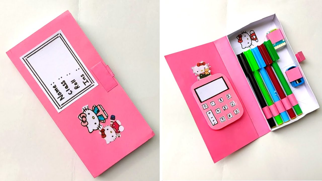 DIY - How to make a paper pencil box   DIY paper pencil box idea /Easy Origami box tutorial