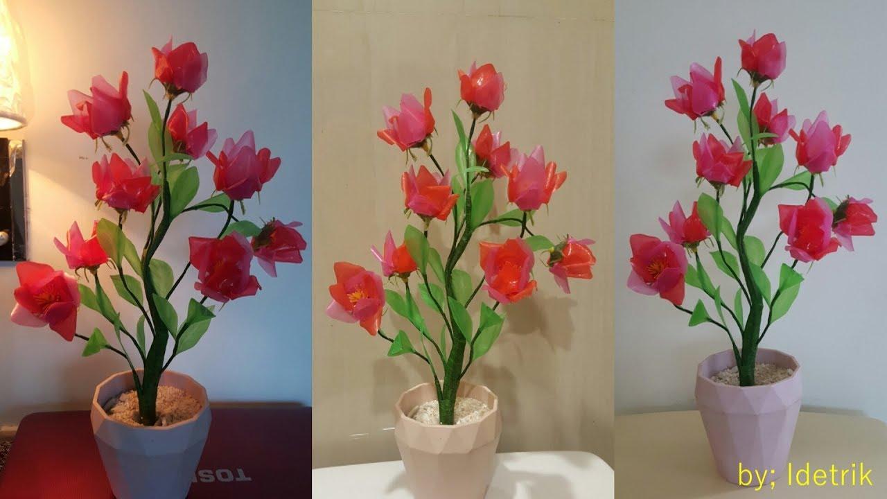 Cara Membuat Bunga Dari Sedotan Plastik The Best Flower From A Straw Youtube