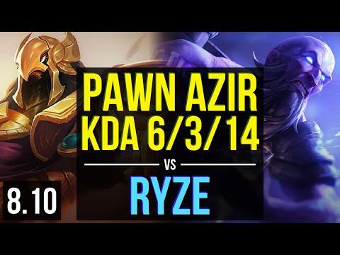 KT Pawn - AZIR vs RYZE (MID) ~ KDA 6/3/14 ~ Korea Diamond ~ Patch 8.10