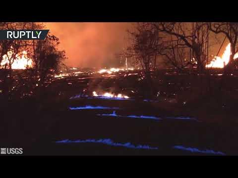Hawaii burns blue as methane gas from Kilauea volcano ignites