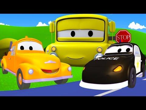 Tom la Grúa y Matt el Carro Policía en Auto City  Dibujos animados para niños
