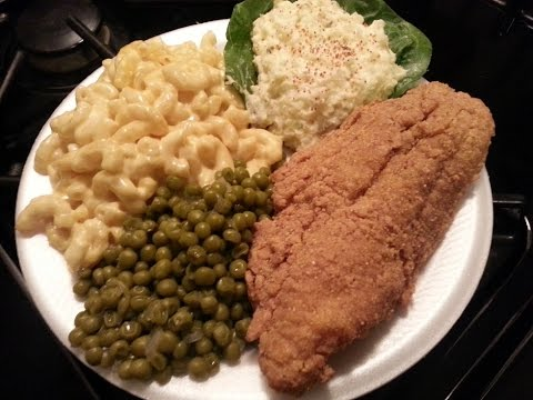 How to make Fried Catfish,Baked Macaroni,Green Peas and Pota