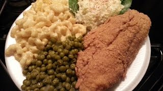 How To Make Fried Catfish,baked Macaroni,green Peas And Potato Salad