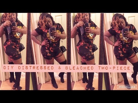 DIY TWO-PIECE OUTFIT | 2017 FASHION TREND BLEACHED & DISTRESSED|
