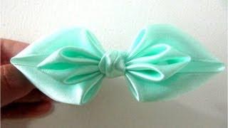 Repeat youtube video Moños para el cabello en cintas dobladas diseño de hojas dobles