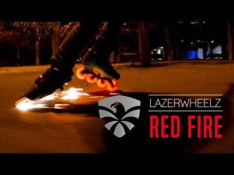 Lazerwheelz - RED FIRE - Freeskate At Night