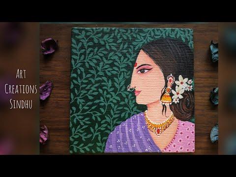 Indian Folk Art Painting/ Easy Madhubani Folk Painting/How to paint Traditional Indian women