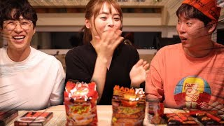 일본 매운음식 5개 한번에 먹고 사망할 뻔 했습니다. (With 오구라유나,에드머)