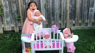 Sally Pretend Play Baby Bedtime w/ Baby Dolls Toys! Nursery rhymes for kids