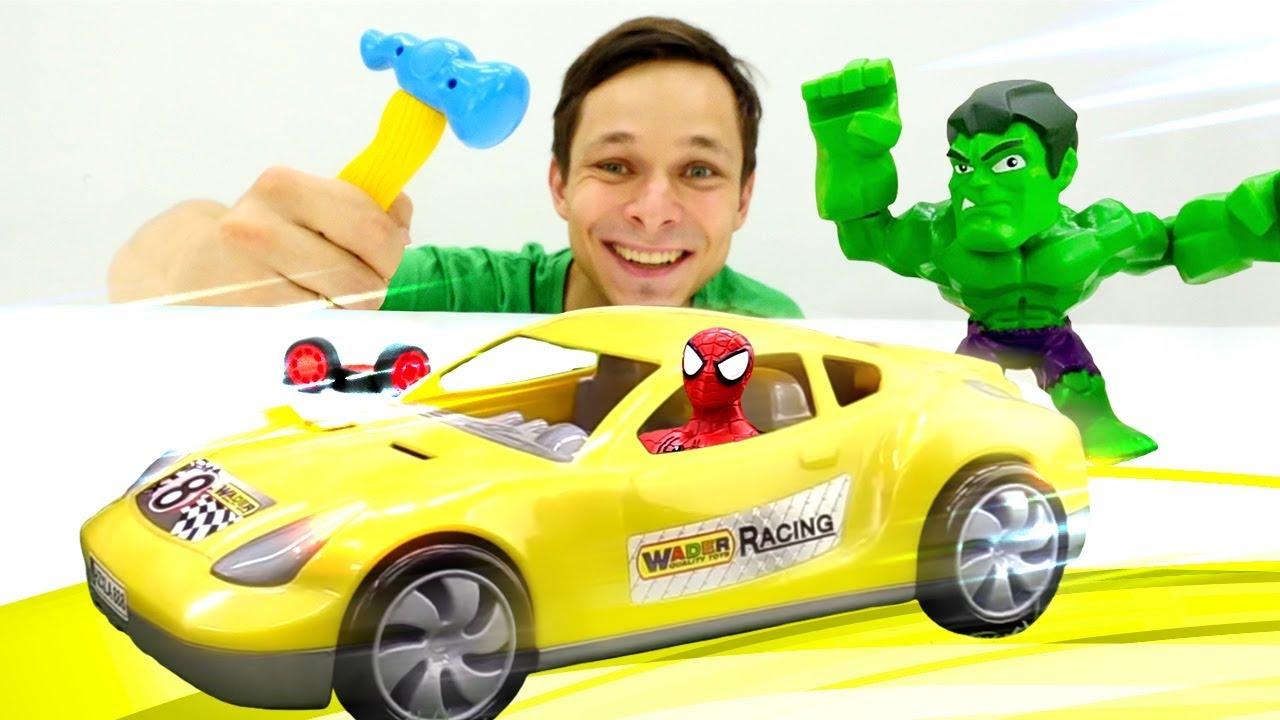 Игры с машинками - Супергерои в Автомастерской Фёдора! – Детское видео.
