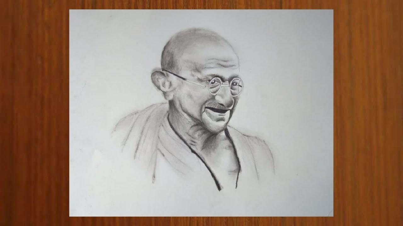 Mahatma gandhi drawing how to draw mahatma gandhi step by step pencil drawing tutorial