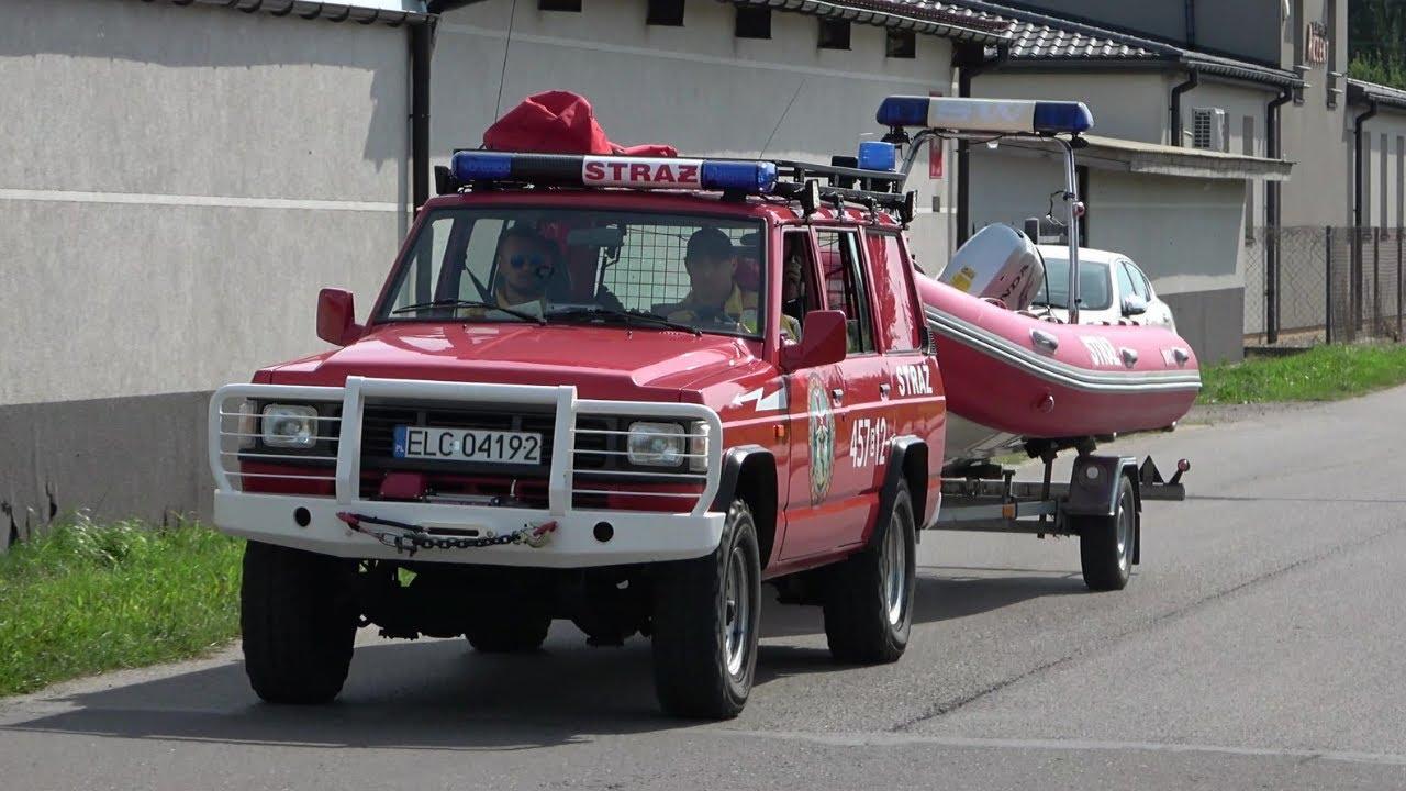 Wyjazd Alarmowy 457[E]12 SLRr Nissan Patrol + łódź ratownicza z OSP Łowicz Ratownictwo Wodne