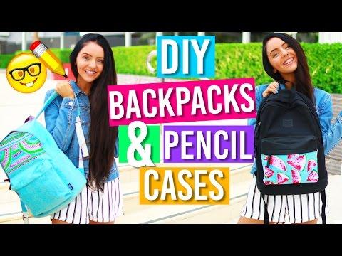 Easy DIY Backpacks & Pencil Case For Back To School! DIY School Supplies for 2016!