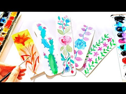 floral-bookmarks-ideas---diy-watercolor-5-min-crafts-tutorial-\-painting-for-beginners-(part-1)