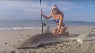 MONSTER BLACKTIP SHARK Fishing: Outer Banks, North Carolina Shark Landed on Beach & HOW TO