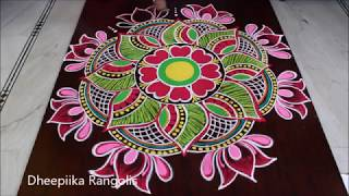 sankranthi special rangoli design with colours * pongal special kolam 2019 new year rangolis
