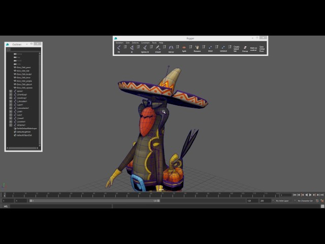 Low-Poly Character Setup using Rigger for Maya (DonChilly, Timelapse)