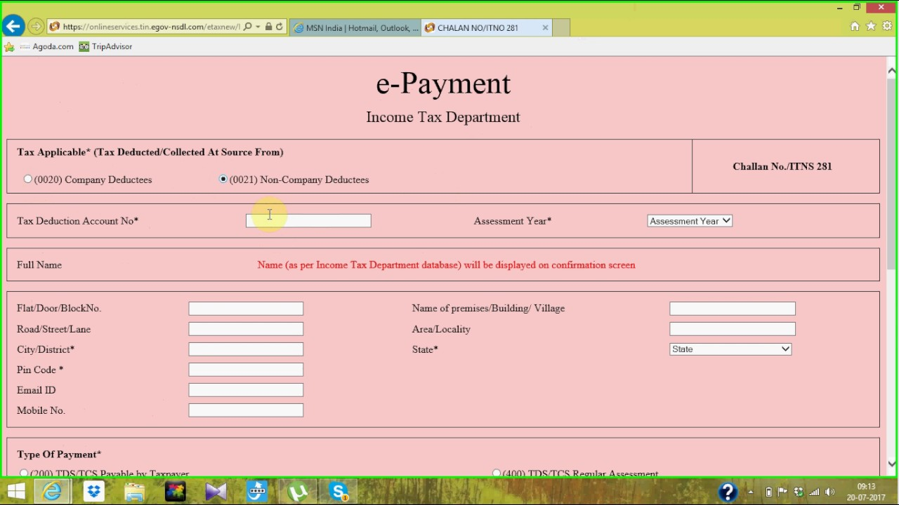 how to payment tds through online part - 1 (Challan - 281)