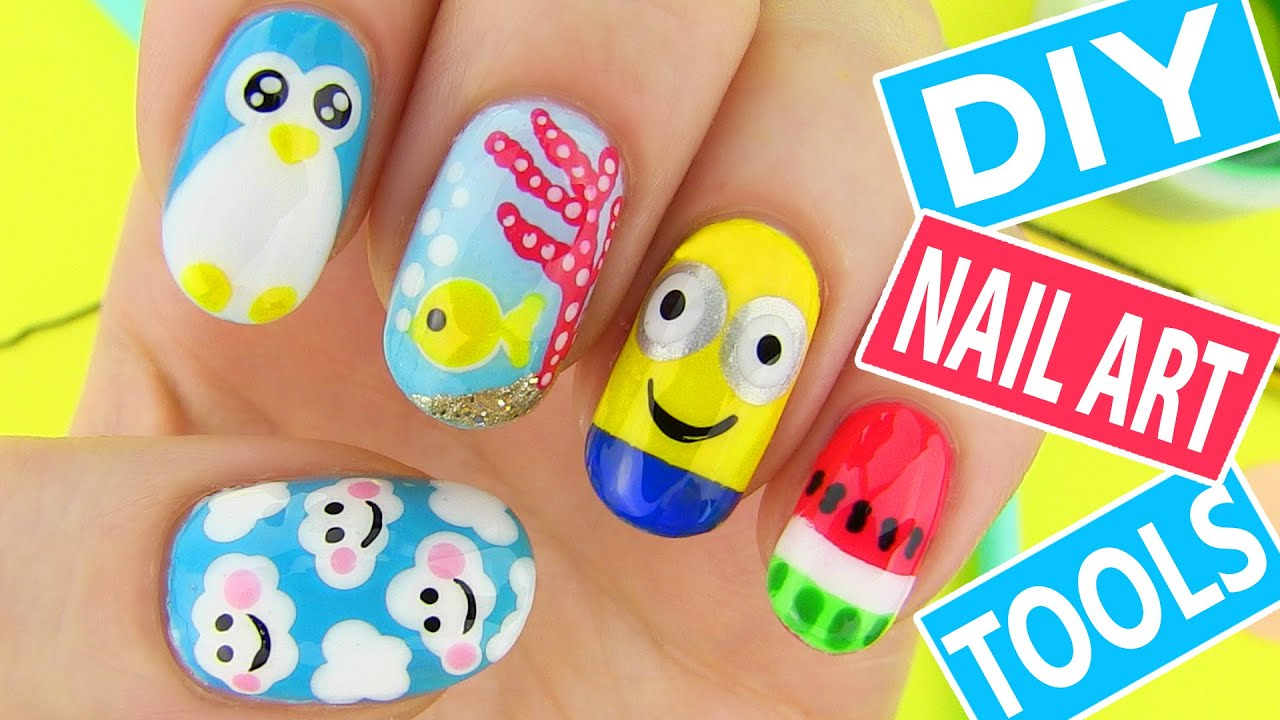 DIY Nail Art Tools with 5 Easy Nail Art Designs How to Paint your