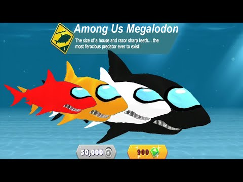Hungry Shark Evolution Among Us MOD - All 23 Sharks Unlocked Hack Unlimited Gems And Coins Gameplay