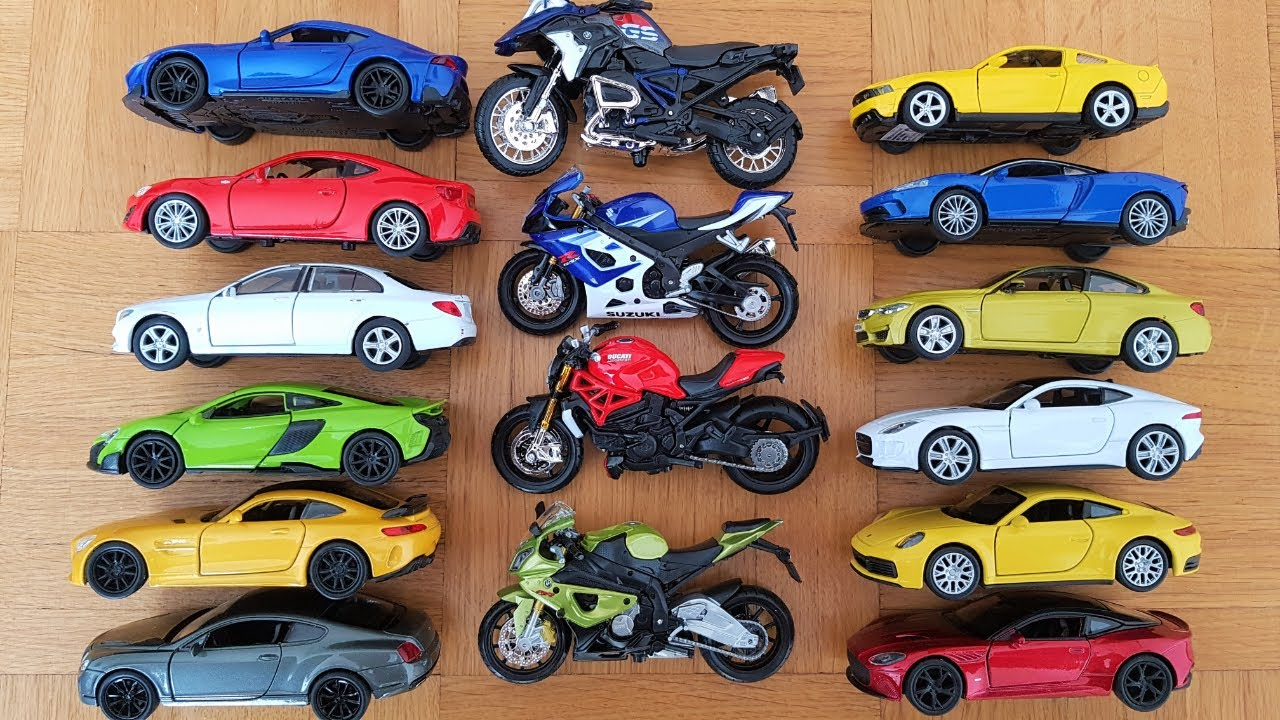 Die cast Metal Scale Model Welly Cars and Maisto Motorcycles: reverse video
