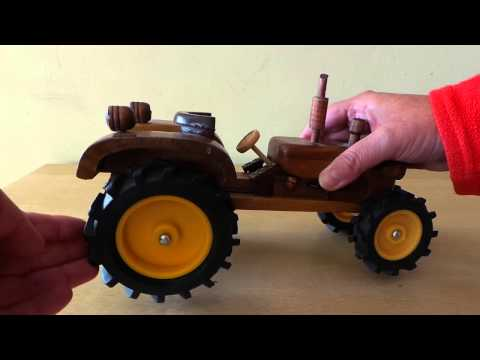Amazing Hand Crafted Wood Model Tractor Toy