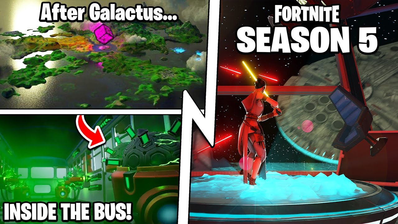 "Fortnite Season 5: The ""After Galactus"" Map, Exploding Battle Bus, Battle Pass!"