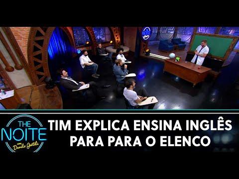 Tim Explica ensina inglês para o elenco  The Noite 010620