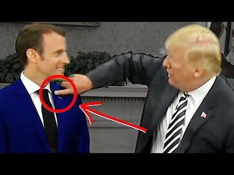 Trump Brushes FAKE Dandruff (High-Status PowerPlay) Watch Macron's Reaction!