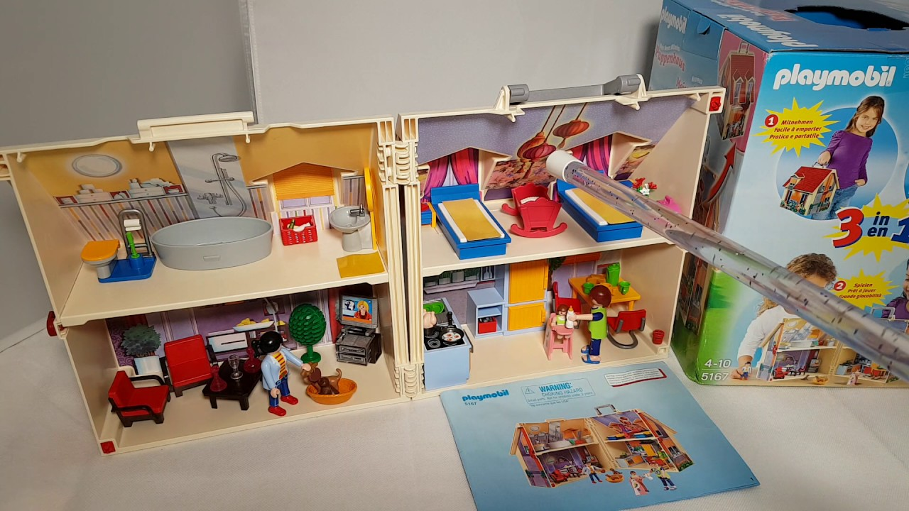 Playmobil city life 5167 neues mitnehm puppenhaus 3 in 1 for Playmobil haus schlafzimmer