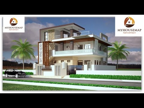 Modern Duplex House Elevation Design Glass Balcony Wooden Texture