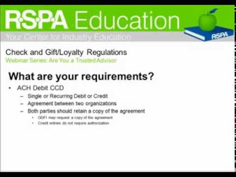 Check, ACH, and Gift & Loyalty Regulations
