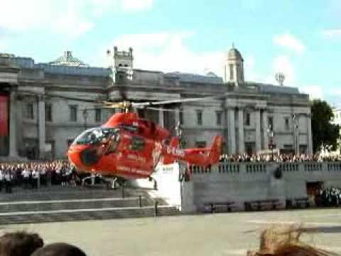London air ambulance takes off from Trafalgar Square