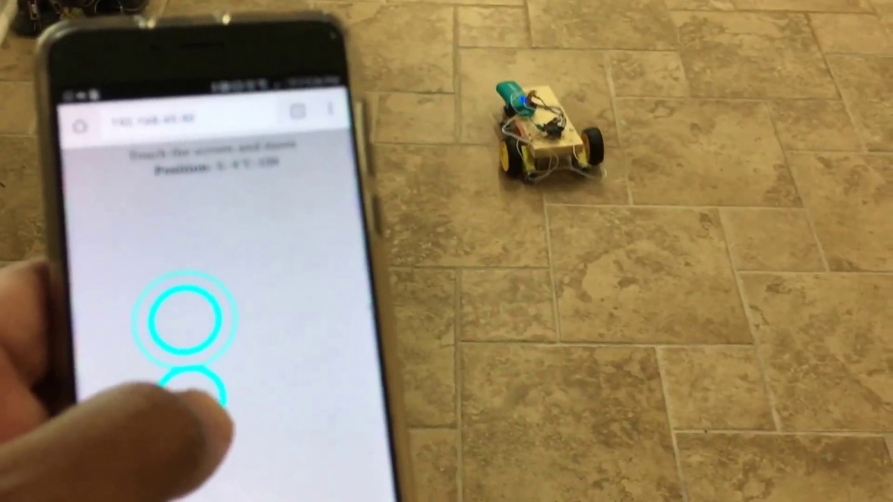 WiFi Controlled Car with a Self Hosted HTML/JS Joystick Using a