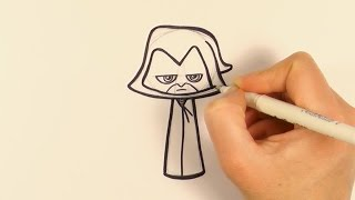 How to Draw a Cartoon Raven From Teen Titans Go - zooshii Style