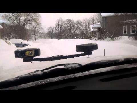 Slamming snow banks