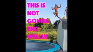 Insane Girl Fail from roof to trampoline to pool and more