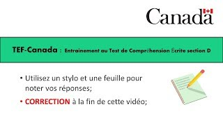 TEF CANADA : Préparation 2 au Test de Compréhension Écrite section D