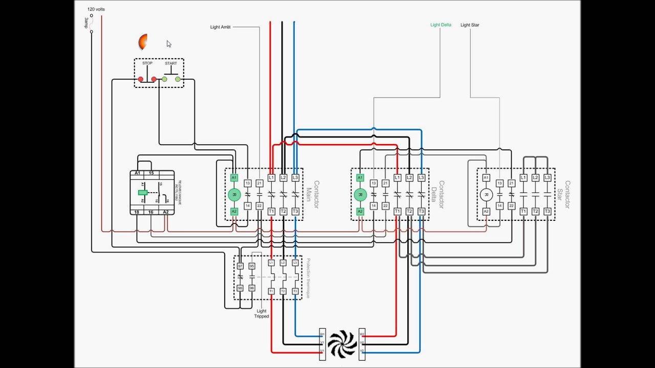 Wye Delta Motor Starter Wiring Diagram Ford Mustang Stereo Star Animation - Youtube
