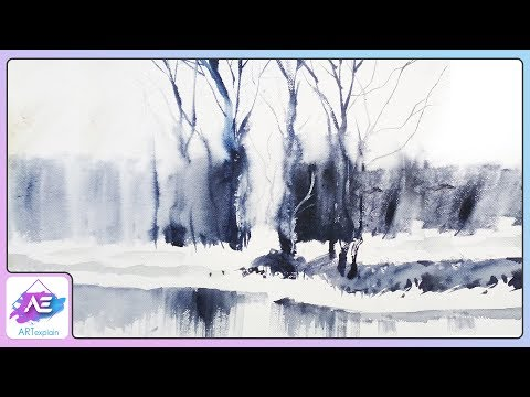 Transparent Black And White Watercolor Landscape | How to paint a watercolor landscape | Art Explain