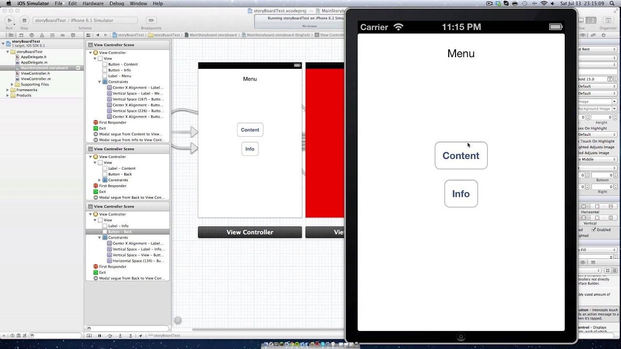 How To Make An Iphone 5 App In Xcode 45 Main Xcode Window For Helloworld  Project Finally
